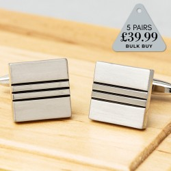 5 Pairs Cufflinks Offer Silver Square