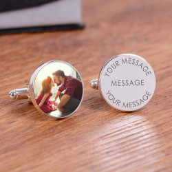 Any Message Photo Cufflinks- Engraved Cufflinks