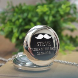 Personalised Wedding Party Pocket Watch - Moustache