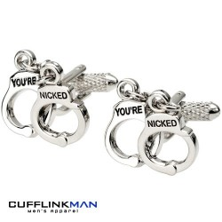 You're Nicked Handcuff Cufflinks