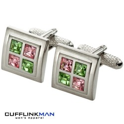 Peridot and Rose Squared Cufflinks