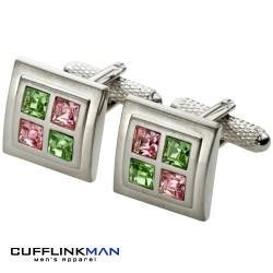 Peridot and Rose Squared Cufflinks