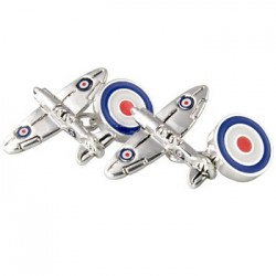 Silver Plated Spitfire RAF Roundel Cufflinks