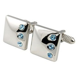 Aldea Blue - Three Crystal Cufflinks