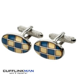 Retro Pave Orange/Blue Cufflinks