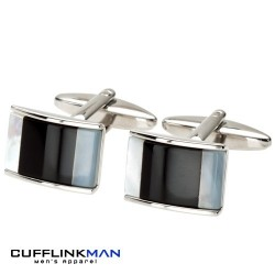 Allure - Mother of Pearl / Onyx Arch Cufflinks