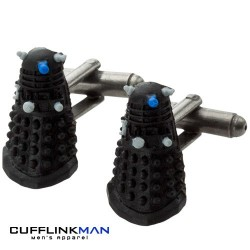 Dr Who Cufflinks - Dalek - Black Rubber Edition