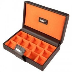 Park Lane Deluxe Chestnut & Tangerine Cufflink Case