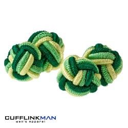 Green Silk Knot Cufflinks