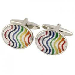Rainbow Wave Gay Pride Cufflinks