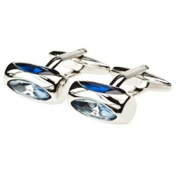 Crystal Cylinder cufflinks (Navy/Sky Blue)