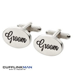 Oval Italics - Groom Cufflinks