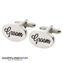 Oval Italics - Groom Cufflinks