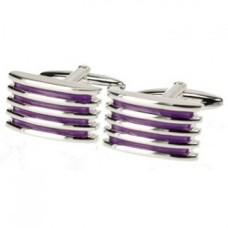 Alleto Light Purple Grill - Silver Plated Cufflinks