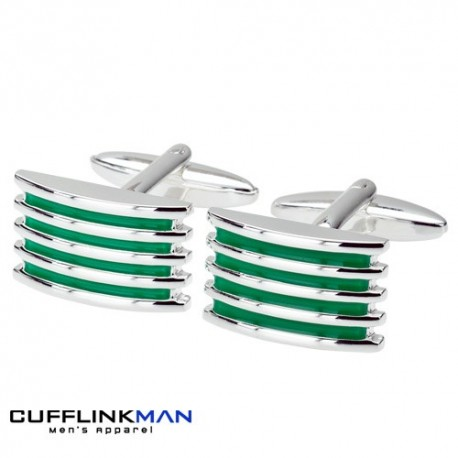 Alleto - Green Silver Plated Grill Cufflinks