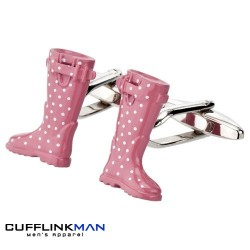 Pink Polka dot Welly Cufflinks