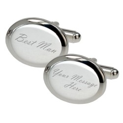Personalised - Silver Plated Oval Best Man Cufflinks
