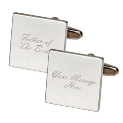 Personalised - Square Father of The Bride Cufflinks
