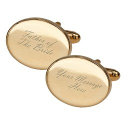 Gold Father of The Bride Engraved Cufflinks