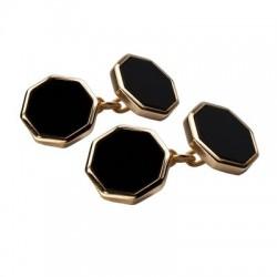 Onyx Octagonal Gold Plate Chain Cufflinks