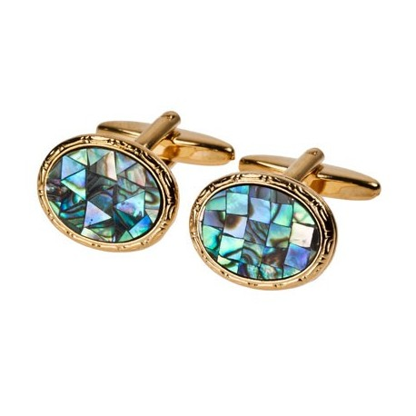 Paua Shell in Gold plate cufflinks