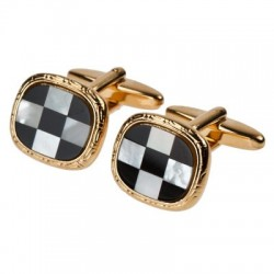 Mother of Pearl and Onyx in Gold Plate Cufflinks