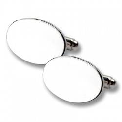 Esquire - 925 Solid Silver Oval Cufflinks