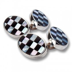 Esquire - Sterling Silver 925 Mother of Peal/Onyx Cufflinks