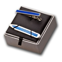 Tie Clip and Collar Stiffener  Gift Set - Blue - Tie Bar - Tie Slide