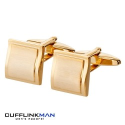 Gold plated Brushed Curved Square Cufflinks