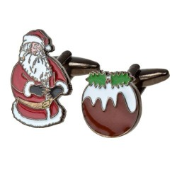 Father Christmas and Pudding Cufflinks