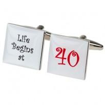 Life Begins at 40 - 40th Birthday Cufflinks