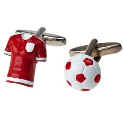 Red Football Shirt and Ball Cufflinks