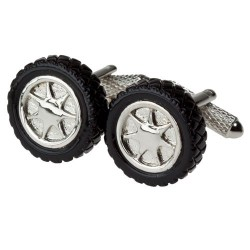 Black alloy Wheel Cufflinks