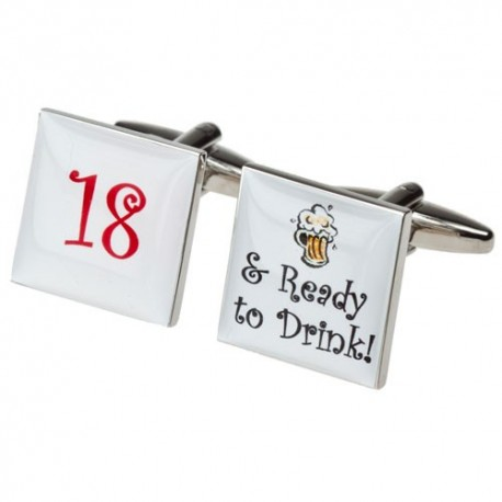 18th Birthday Cufflinks  - 18 and Ready to Drink Cufflinks