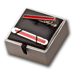 Red Tie Clip and Collar Stiffener Gift Set - Tie Bar - Tie Slide