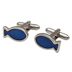 Fisherman's Friend Blue Fish Cufflinks