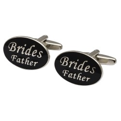 Oval Black Brides Father Cufflinks