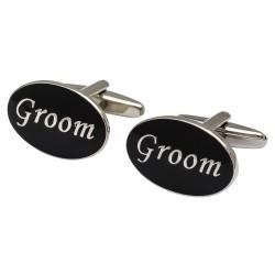 Oval Black - Groom Cufflinks