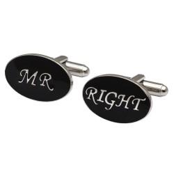 Oval Black - Mr Right Cufflinks
