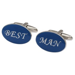 Oval Blue - Best Man Cufflinks