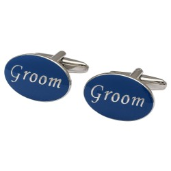 Oval Blue - Groom Cufflinks