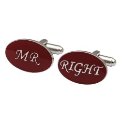 Oval Red - Mr Right Cufflinks