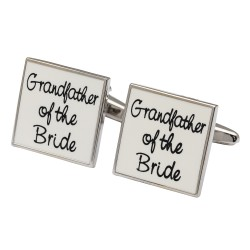 Square White - Grandfather of the Bride Cufflinks