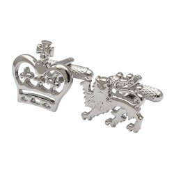 Lion and Crown Rhodium Cufflinks
