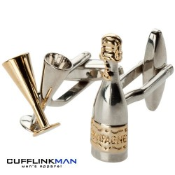 Champagne Bottle Cufflinks With Flutes