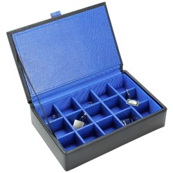 Dulwich - Black Leather Cufflinks Box with Blue lining