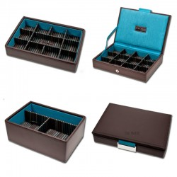 Stackers Brown Leather -Cufflinks Case Set