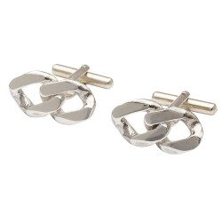 Curb Chain Sterling Silver Cufflinks