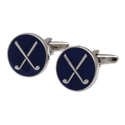 Crossed Golf Clubs Cufflinks Blue